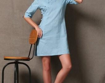 Blue Cheongsam Style Midi Linen Dress C588
