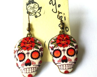Day of the Dead Red Rose Sugar Skull Charm Earrings