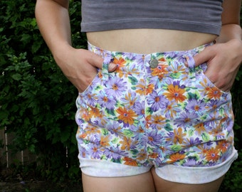 90s High Waisted Colored Daisy Shorts / Purple / Orange
