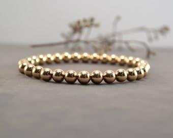 Gold Bracelet, Gold Jewelry, Stacking Bracelet, Stretch Bracelet, Gold Beaded Bracelet, Gold Filled Jewelry, Best Friends Bracelet