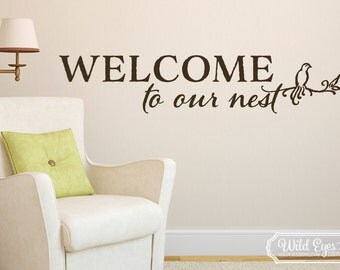 Welcome to our Nest -Family photo wall decal Foyer living room feature wall boarder vinyl lettering Bird Nest Door decal, wall decal, HH2078