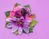 Vibrant Purple, Pink, Orange, Tropical, Hibiscus, Floral, Pin Up, Vintage Inspired, Hair Clip Fascinator