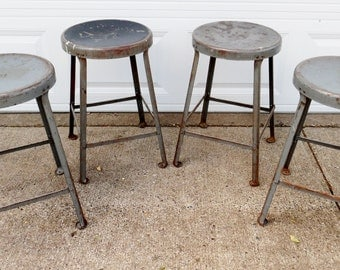 "4 Vintage, Industrial, Shop Stools, Grey, Steel, Stool, Counter Height, 22 1/4"" High, School, Dining Room, Seating"