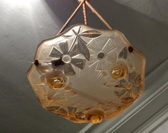 Original 1930s Vintage French Art Deco Light Fixture Palest Pink - Perfect Condition - Looks Great in all Decors