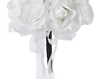 White Silk Rose Toss Bouquet - Silk Wedding Toss Bouquet