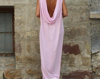 Pink Backless dress, Maxi Dress, Caftan, Kaftan, Abaya, Caftan dress, Long dress, Openback dress, Bow dress, Elegant dress