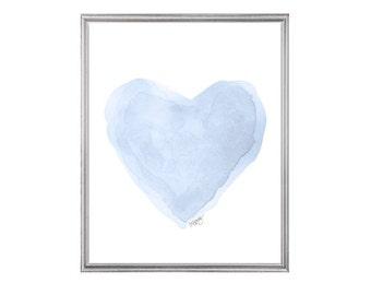 Pale Blue Nursery Decor, Blue Watercolor, 8x10 Heart Print, Blue Heart Painting, Blue Nursery Art, Blue Art, Ice Blue Art, Pastel Blue Decor