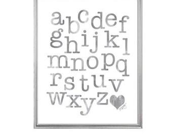 Gender Neutral Nursery Art, ABC Watercolor Alphabet Print, Alphabet Art, Gray Nursery Art, Playroom Art, Gray Alphabet Print, Gray ABC Art