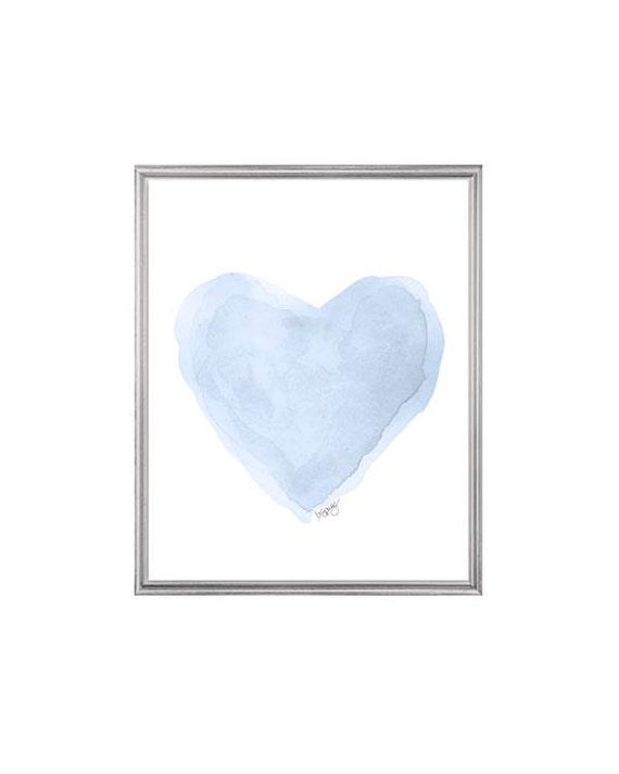 Ice blue nursery : ... blue heart painting, nursery art, ice pastel