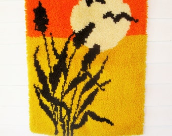 "1960s Wall Hanging - Hooked Rug - 23"" by 33""  Rug - Wall Hanging - Yellow, Orange, Cream and Black - Useful and Usable"