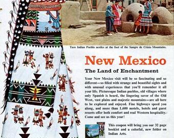 Vintage New Mexico Travel Ad  Taos Indian Pueblo Zuni Shalako Dancer Awa Tsireh Native American Arts Sangre de Cristo Mountains 1950's