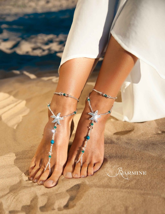 Beach Wedding Barefoot Sandals Bridal Foot Jewelry Rhinestone Starfish Shoes Footless Blue
