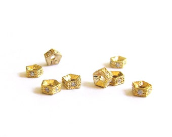 SALE Gold Vermeil cz Spacer 4mm 2 pcs Small Cubic Zirconia Pave Pentagon Spacer Bead