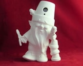 """Ceramic Ready to Paint """"Birdhouse"""" Style Crackpot Garden Gnome/Pixie with gardening tools- 10.5 inches, DIY"""