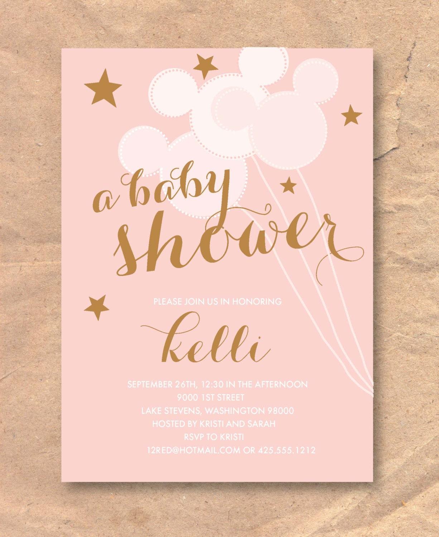 Printable Disney Baby Shower Invitation: Mickey Balloons