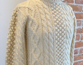 Handknit Cable Sweater Made in Italy