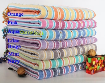 Set Of 5 EXPRESS DELIVERY POMPON Pestemal 100% Cotton Hamam Towel Beach Towel Hammam Peshtemal Turkish Towel