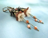 Lucite Flower Dangle Earrings, Victorian Style, Jasper Semi Precious Stones, Rust Peach Tones, Antiqued Brass Lever Back Ear Wires, Handmade