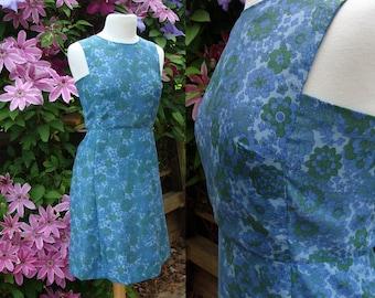 60's Sheath Mod Floral Sleeveless