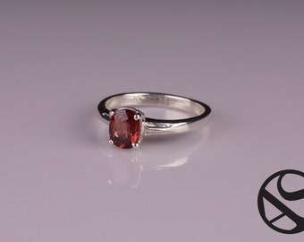Malaia Garnet and Sterling Silver Solitaire Ring