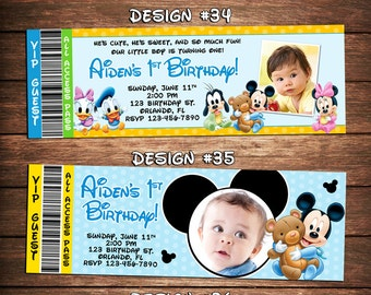 Mickey Mouse Clubhouse Baby 1st Birthday Party Photo Ticket Invitations Minnie First - Printable