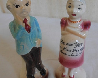 Vintgage Cute Couple Salt and Pepper Shakers Aren't They Risque'
