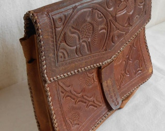 Vintage Hand Tooled Leather Purse Clutch Made in Guatalama