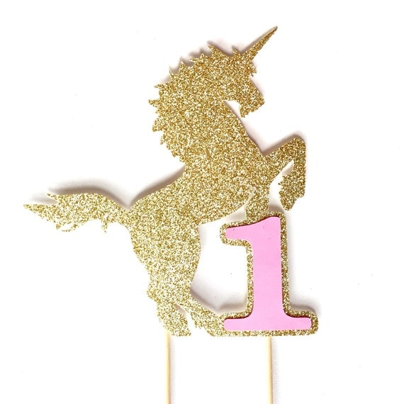 Unicorn Birthday Cake Topper Gold Glitter Unicorn Cake
