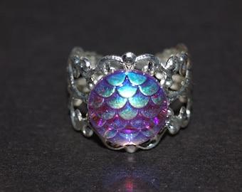 Dragons Ring - Silver Filigree Ring - Dragon Jewelry - Purple Shiney Cabochon - Adjustable Ring -