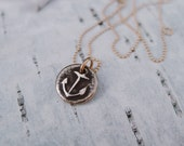 """Tiny Anchor Necklace in Bronze """"Hold Fast"""""""