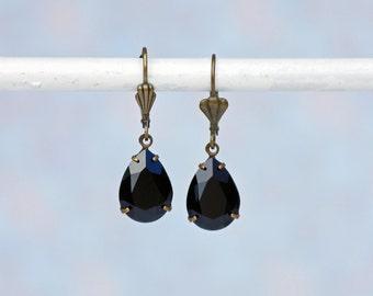 Black Earrings, Black Teardrop Earrings, Jet Black Swarovski Earrings, Swarovski Earrings