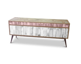 Retro Modern Mid Century Industrial Recycled Shabby Chic Country Farmhouse Sideboard / Buffet / Entertainment Unit - Blush Pink & White