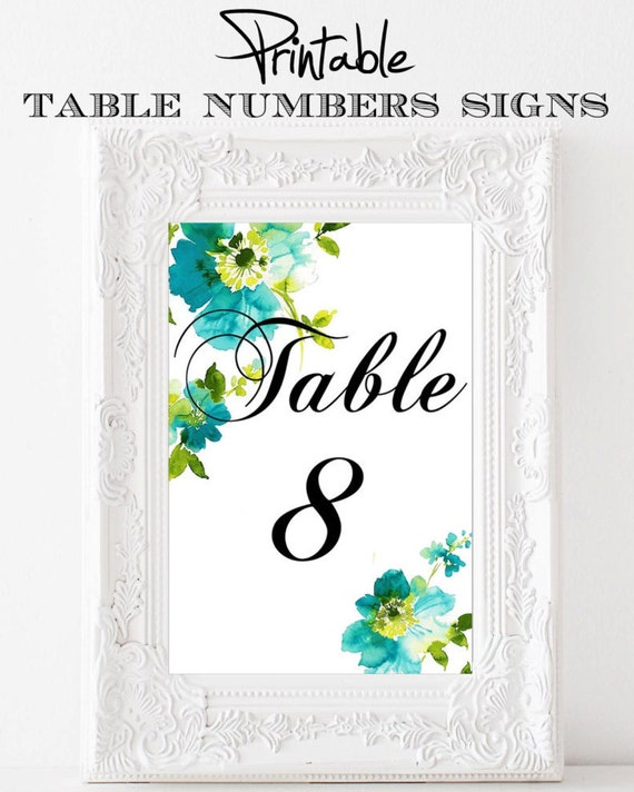 Printable 4 x 6 Table Number Signs Watercolor Blues Flowers 11-20