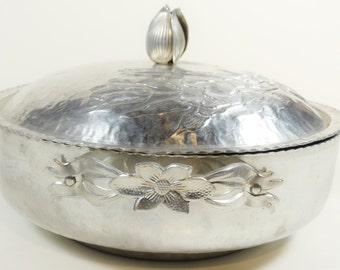 Beautiful Hammered Aluminum Covered Casserole with Tulips