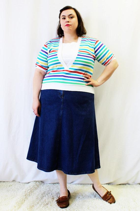 Plus Size - Vintage Multicolor Stripe V-Neck Blouse (Size L 12/14)