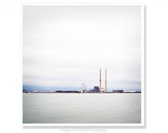 Ireland Photography, Irish Gift, Industrial Art, Poolbeg Towers, Poolbeg, Smokestacks, Ireland Print, Dublin, Made In Ireland