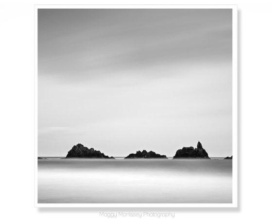 Black and White Wall Art Print, Made in Ireland, Wall Decor Prints, Seascape, Irish Art, Fits IKEA RIBBA,