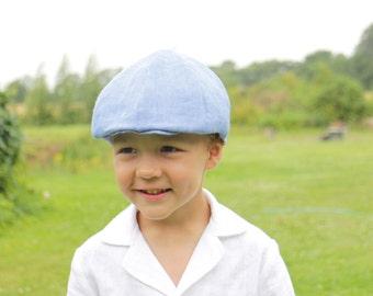 Boys flat hat Newsboy hat Infant boy linen flat hat Ring bearer hat Newsboy Cap Photo prop Toddler hat