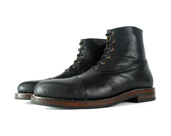HESSE BLack Pebbled Leather Heavy Duty Ankle BALMORAL Boots.  (All Sizes)