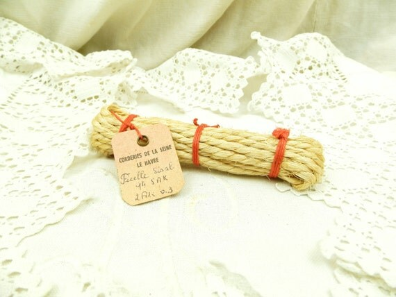 Antique French Unused Bundle of Sisal Twine Rope with Original Label / French Decor / Haberdashery /  Sewing / Craft Supplies / Le Havre