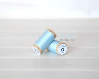 Organic Cotton Thread GOTS - 300 Yards Wooden Spool  - Thread Color Ice Blue - No. 4814 - Eco Friendly Thread - 100% Organic Cotton Thread