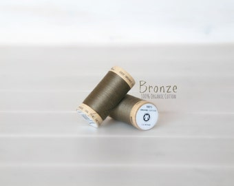 Organic Cotton Thread GOTS - 300 Yards Wooden Spool  - Thread Color Bronze - No. 4824 - Eco Friendly Thread - 100% Organic Cotton Thread