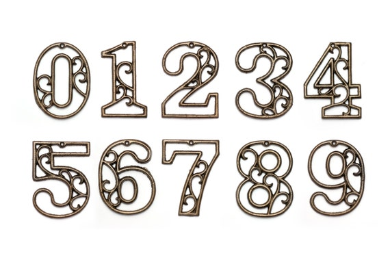 rustic cast iron house numbers wall aged brass hangers decorative victorian decor 45 inches - Decorative House Numbers