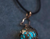 NEW!!! Steampunk Tendrils Bronze Glow In The Dark Pendant Locket in Green or Aqua