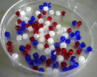 4mm Bicone Crystals (100 Count) Patriotic Mix Red White Blue Loose Beads