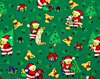 "XMAS FABRIC Green Background & Red SANTA Bear - 45"" wide 100% Cotton - Fat Quarters, Half Metres, Metres"