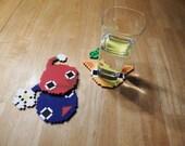 Pixel 8 Bit Pikmin Perler Bead Coaster- Set of 3