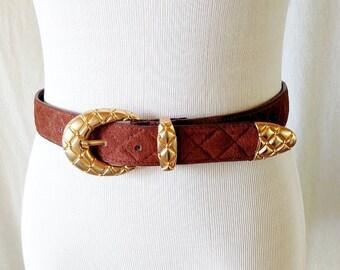Vintage Quilted Brown Leather Milor Belt