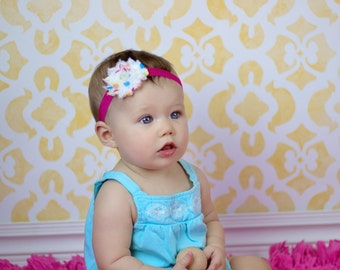 SALE Confetti dot colorful Headband  Newborn Baby and Toddler girl hair bow shabby chic