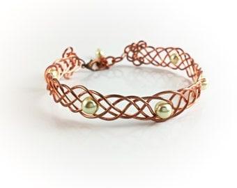 Boho Woven Bracelet - Copper Weaving & Swarovski Crystals - Elegant Gypsy Cottage Chic Bohemian Wanderlust Jewelry